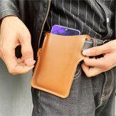 Мужчины Искусственная кожа сплошной цвет телефона Сумка Ретро Easy Carry Waist Сумка EDC Ремень Сумка С петлей Ремень