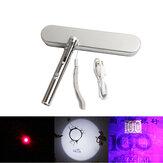 XANES® A913 3 az 1-ben mini orvosi zseblámpa piros lézerfestő tanító jelző macskajátékok UV-érzékelő lámpa USB újratölthető LED tolllámpa