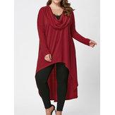 女性Plusサイズ不規則な裾ロングブラウス