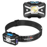 WARSUN LED المصباح الأمامي التعريفي مع تحذير جانبي ضوء طويل المدى USB قابل لإعادة الشحن في الهواء الطلق للصيد مثبت على الرأس ضوء مصباح يدوي للتخيي