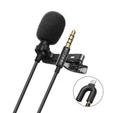 BlitzWolf CM1 Mini 3.5MM Omnidirectional Lavalier Cardioid Microphone HiFi Sound Noise Reduction Mic for YouTuBe Live Broadcasting SLR Camera Recording DJI OSMO Action Sports