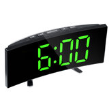 LED Digital Alarm Clock Large Curved Mirror Screen Brightness Adjustable Electronic Time Date Temperature Display Table Clock
