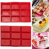 9 Cavity Rectangle Silicone Bread Cupcake Mould DIY Chocolate Soap Bakeware Tray