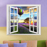 Lavender PAG 3D Artificial Window Wall Decals Fire Balloon Room Stickers Home Wall Decor Gift