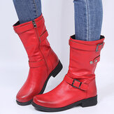 Women Large Size Retro Solid Color Buckle Strap Block Heel Riding Boots