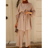 Women Solid Color Wide Leg Pants Daily Casual Loose Two-Piece Set With Belt