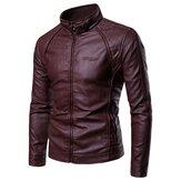 पुरुषोंकीआकस्मिकस्टैंडकॉलरमोटी गर्म चमड़े की जैकेट