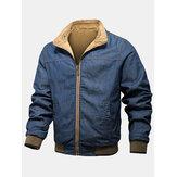 Мужские хлопковые джинсовые двусторонние куртки на молнии с воротником и лацканами спереди