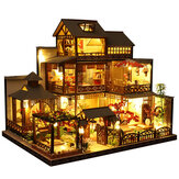 Wooden DIY Japanese Villa Doll House Miniature Kits Handmade Assemble Toy with Furniture LED Light for Gift Collection Home Decor