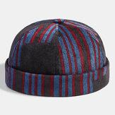 Collrown Men Corduroy Patchwork Color Patch and Stripe Patrón Gorra sin ala de moda casual para propietario Cráneo Gorra