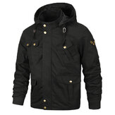 Gaya Militer Multi Pockets Hooded Mens Cotton Jacket