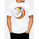 Mens 100% Cotton Astronaut Planet Print Round Neck Casual Short Sleeve T-Shirts