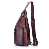 Bullcaptain® Men Leather Chest Bag Vintage Travel Fashion Crossbody Shoulder Bag