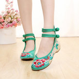 Women Mary Janes Chinese Embroidered Flower Flat Shoes Linen