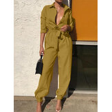 Women Casual Solid Color Lapel Long Sleeve Office Loose Jumpsuit