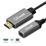QGEEM QG-HD02 HDMI to Mini DisplayPort Converter Adapter Cable 4K x 2K HDMI to Mini DP Video Cable Untuk Digital TV / LCD Display Laptop / Projector / TV Box