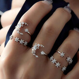 5Pcs Set di anelli di moda Bohemian Finger Ring Simple Moon Star