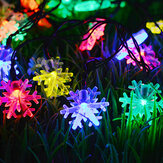 6.5m 30 LED Solar Powered Snowflake String Light Noel Ağacı Outdoor Dekor