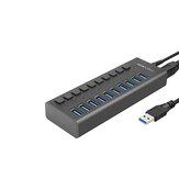 Divisor de super velocidade de hub USB 3.0, hub de dados USB de 10 portas com adaptador de energia, interruptores e luzes individuais liga / desliga para laptop, PC, computador, HDD móvel, Flash Dr (10 portas pretas