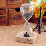 Iron Powder Magnet Hourglass With Wooden Holder Desk Toy