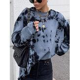 Женский круглый свитшот с принтом тай-дай Шея, свободный крой, пуловер