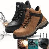 Calçados de segurança masculinos com biqueira de aço Botas de trabalho de cano alto Tênis de corrida para camping Tênis impermeáveis ao ar livre