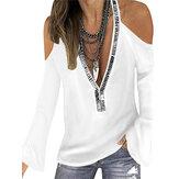 Women Halter Solid Color V-Neck Flare Sleeve Fashion Blouse