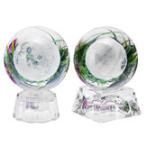 Moon Crystal Ball With Light Effect Base 3D Engraving Colorful Ornaments Crafts Desktop Decorations