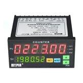 Contatore digitale LED Display doppio multifunzione 90 ~ 265 V CA / CC Lunghezza Misuratore con 2 uscite a relè e impulso PNP NPN