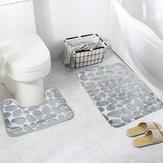 Honana 2 Pcs 3D Batu Memori Busa Mandi Tikar Set Anti-slip Lantai Tikar Penyerap Toilet Kamar Mandi Karpet