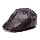 الرجال النساء الجلود الاصطناعية الأذن حماية قبعة البيريه الدافئة قبعة مسطحة قبعة اللبلاب
