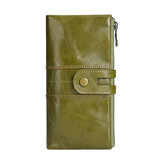 Women Genuine Leather RFID Antimagnetic Long Phone Wallet