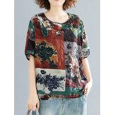 Kontrast Renkli Baskı Yuvarlak Boyun Yarım Kol Vintage Bluzlar Kadın İçin