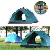 3-4personnestenteentièrementautomatiqueétanche anti-UV PopUp tente extérieure famille camping randonnée tente de pêche parasol-ciel bleu / vert