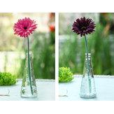 Florero de vidrio transparente con tapa de madera botella adornos de decoración florero de corte centro de flores en casa