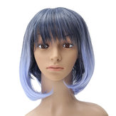 35-40cm Blue Gradient Cosplay Peluca Mujer Corto Pelo Rizado Anime Natural Role Play Capless