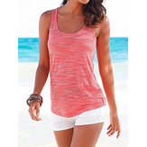 Casual Sports Round Neck Sleeveless Hollow Design Beach Wild Tank Top