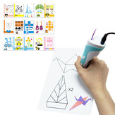 15PCS Stylo d'impression 3D Papiers double face + Transparent Template Copy Costume Conseil Graffiti pour enfants