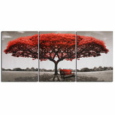3 Pcs Wall Decorative Paintings Red Tree Canvas Print Art Pictures Frameless Wall Hanging Decorations for Home Office