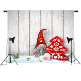 7x5FT Cartoon Santa Claus Christmas Wooden Board Photography Backdrop Studio Prop Background