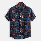 Hombres vendimia Moda étnica Patrón Impresión de camisas de verano