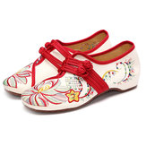 US Size 5-12 Women Casual Embroidery Floral Slip On Outdoor Flat Shoes
