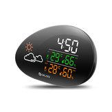 DIGOODG-THS01Horlogeenpierrecouchée Station météo Prévisions météorologiques Extérieur Intérieur Thermomètre Hygromètre Température Humidité Calendrier Horloge Fonction Snooze