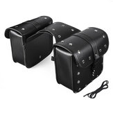 Pair Black PU Leather Motorcycle Modified Tool Bag Luggage Saddlebags For Harley