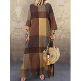 Women Plaid Printing Crew Neck 3/4 Sleeve Daily Loose Casual Maxi Dress