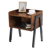 Douxlife® DT-NS01 Bedside Cabinets Industrial Night Stand Storage Table Organizer Racks Wood with Adjustable Foot Pad for Living Room Bedroom