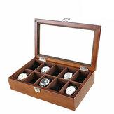 10 miejsc w drewnie ze świetlikiem Pudełko do zegarków Pudełko do przechowywania biżuterii
