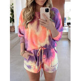 Tie Dye Women Long Sleeve Drawstring Pocket Shorts Casual Home Two-piece Set