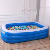 3-Layer Mavi Ve Beyaz Şişme Katlanabilir Taşınabilir Yüzme Havuz Küvet Erişkin Çocuklar için Ev