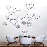 3D Hjärta Silver DIY Form Mirror Väggdekaler Hem Vägg Sovrum Bakgrund Kontorsinredning